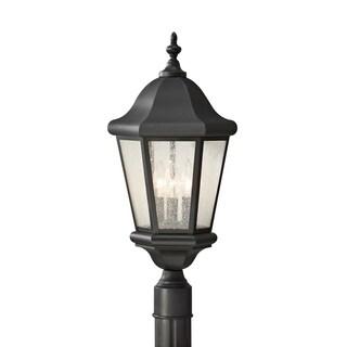 Martinsville 3-light Clear Seeded Glass Outdoor Lantern Post Mount