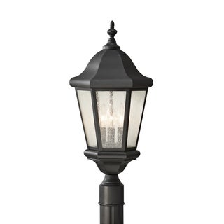 Martinsville 3-light Clear Seeded Glass Outdoor Lantern Post Mount