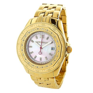 Luxurman Women's 1/4ct Diamond Yellow Goldplated Pink Mother of Pearl Dial Watch