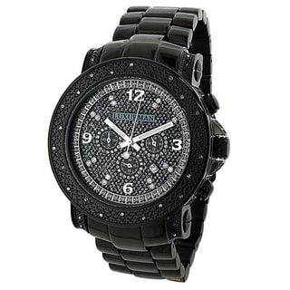 Luxurman 3/4ct TDW Diamond Men's Oversized Black Watch Metal Band plus Extra Leather Straps