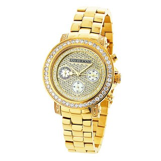 Luxurman Women'S 2Ct Tdw Diamond Yellow Gold-Plated Montana Watch With Metal Band And Extra Leather