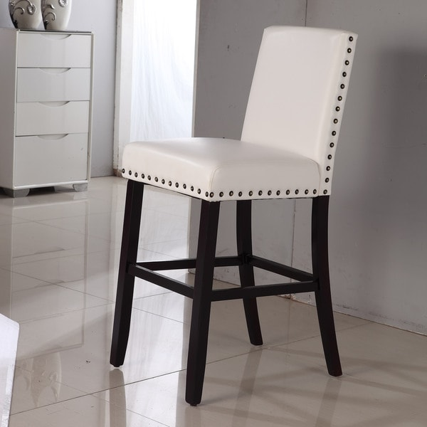 Shop Luxury Creamy White Faux Leather Nail Head Bar Stool