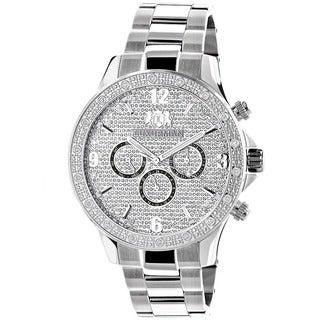 Luxurman 1/5ct TDW Diamond Men's Midsize Watch Metal Band plus Extra Leather Straps