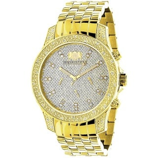Luxurman 1/2ct TDW Diamond Men's Yellow Goldtone Watch Metal Band plus Extra Leather Straps