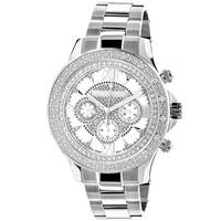 Luxurman 1/5ct TDW Men's Diamond Mother of Pearl Watch Metal Band plus Extra Leather Straps