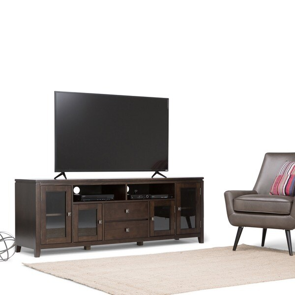 WYNDENHALL Essex 72 Inch Wide Coffee Brown TV Media Stand