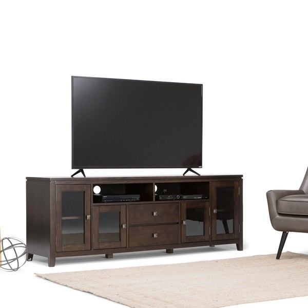 WYNDENHALL Essex SOLID WOOD 72 inch Wide Contemporary TV Media Stand For TVs up to 80 inches. Opens flyout.