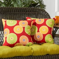 Greendale Home Fashions Floral Medallion Outdoor Accent Pillow, Set of 2 - 17w x 17l