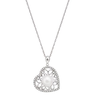Pearlyta Sterling Silver Freshwater Pearl Heart Pendant Necklace (9-10mm)
