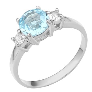 Fremada Rhodium-plated Sterling Silver Blue Topaz and White Topaz Ring
