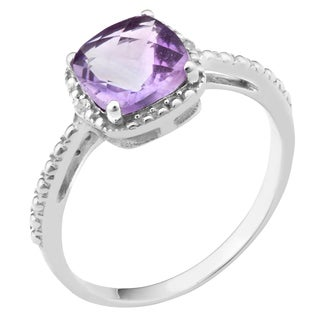 Fremada Rhodium-plated Sterling Silver Cushion Gemstone with Diamond Accent Ring