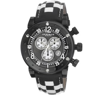Akribos XXIV Men's Quartz Chronograph Checkered Leather Black Strap Watch with Gift Box