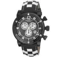 Akribos XXIV Men's Quartz Chronograph Checkered Leather Black Strap Watch