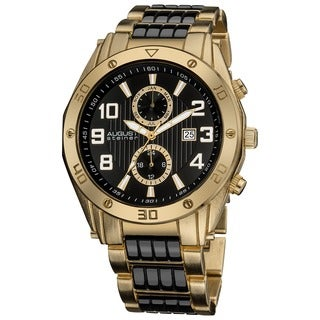 August Steiner Men's Embossed Dial Day/Month Water Resistant Gold-Tone Bracelet Watch