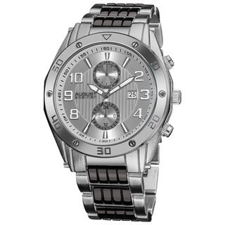 August Steiner Men's Embossed Dial Day/Month Water Resistant Silver-Tone Bracelet Watch