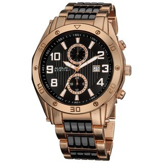 August Steiner Men's Embossed Dial Day/Month Water Resistant Rose-Tone Bracelet Watch
