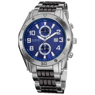 August Steiner Men's Embossed Dial Day/Month Water Resistant Blue Bracelet Watch