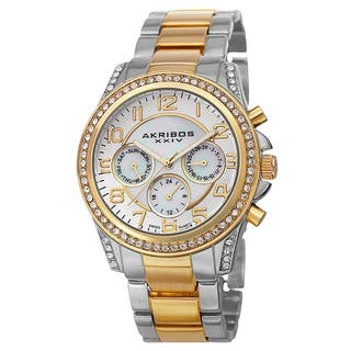 Akribos XXIV Women's Swiss Multifunction Crystal Two-Tone Bracelet Watch with FREE GIFT|https://ak1.ostkcdn.com/images/products/8774637/P16014931.jpg?impolicy=medium