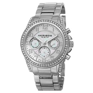 Akribos XXIV Women's Swiss Multifunction Crystal Silver-Tone Bracelet Watch