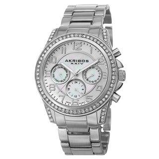 Akribos XXIV Women's Swiss Multifunction Crystal Silver-Tone Bracelet Watch
