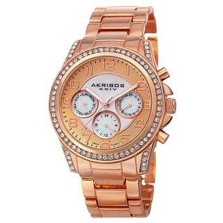 Akribos XXIV Women's Swiss Multifunction Crystal Rose-Tone Bracelet Watch with FREE GIFT