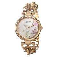 Akribos XXIV Women's Diamond Flower Dial Twist Chain Gold-Tone Bracelet Watch