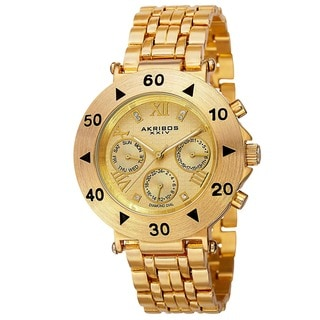 Akribos XXIV Women's Swiss Quartz Diamond Multifunction Gold-Tone Bracelet Watch