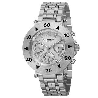 Akribos XXIV Women's Swiss Quartz Diamond Multifunction Silver-Tone Bracelet Watch