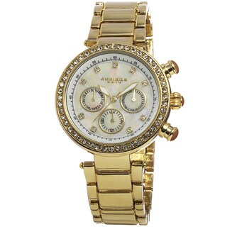 Akribos XXIV Women's Multifunction Crystal Mother of Pearl Dial Quartz Gold-Tone Bracelet Watch with FREE Bangle