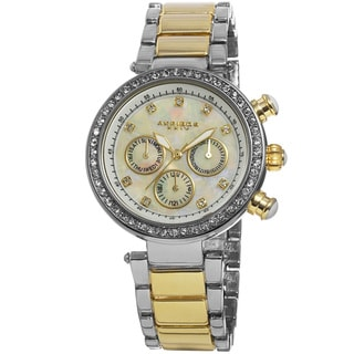 Akribos XXIV Women's Multifunction Crystal Mother of Pearl Dial Quartz Two-Tone Bracelet Watch