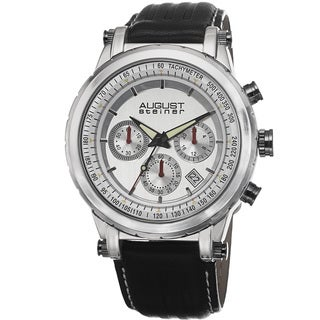 August Steiner Men's Tachymeter Chronograph Leather Silver-Tone Strap Watch with FREE GIFT