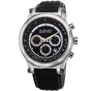 August Steiner Men's Tachymeter Chronograph Leather Black Strap Watch