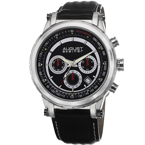August Steiner Men's Tachymeter Chronograph Leather Black Strap Watch