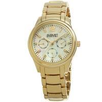 August Steiner Women's Quartz Multifunction Elegant Gold-Tone Bracelet Watch with FREE Bangle