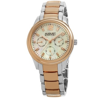 August Steiner Women's Quartz Multifunction Elegant Two-Tone Bracelet Watch