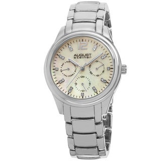 August Steiner Women's Quartz Multifunction Elegant Silver-Tone Bracelet Watch