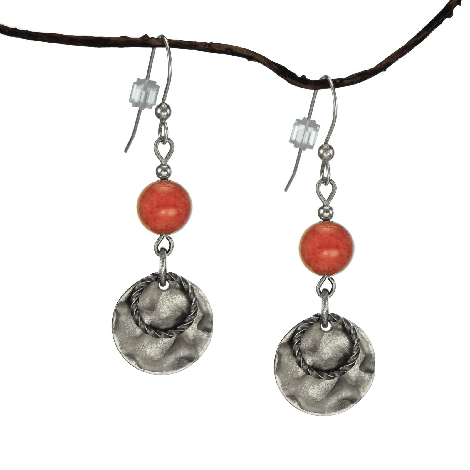 Jewelry by Dawn Coral Marble and Hammered Pewter Drop Ear...