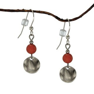 Handmade Jewelry by Dawn Coral Marble and Small Hammered Disk Drop Earrings