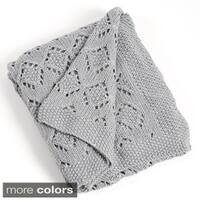 Knitted Woven Design Throw Blanket