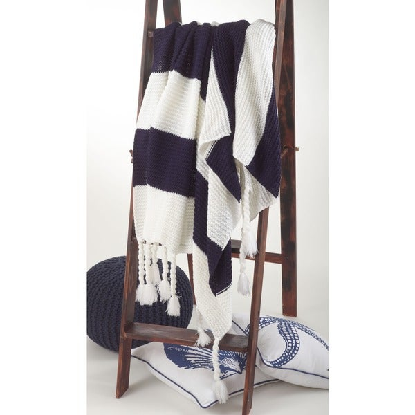 Knitted Navy Striped Throw Blanket with Chunky Tassels