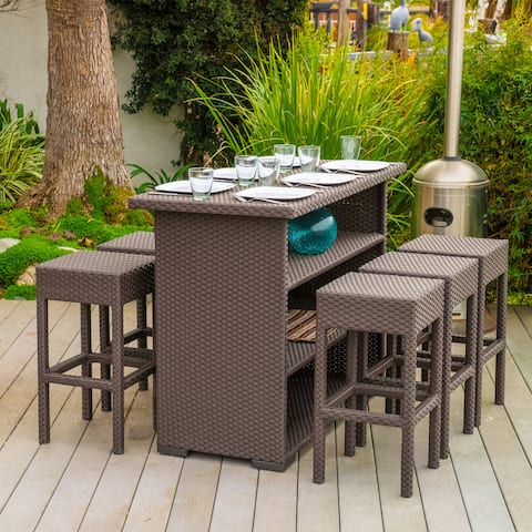 Milton Outdoor 7-piece Brown Wicker Bar Set by Christopher Knight Home