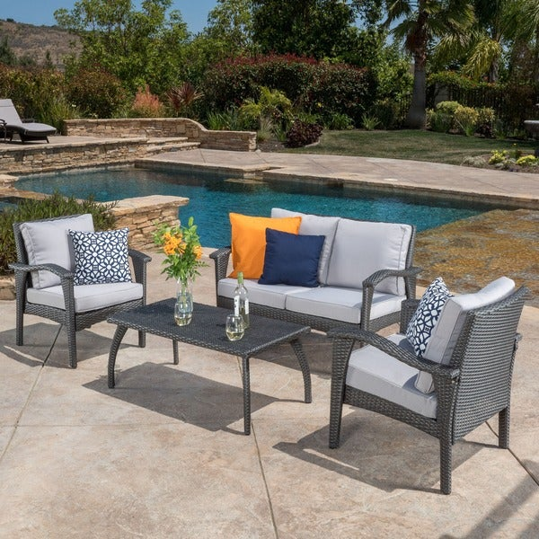 12 Circular Patio Furniture Cordoba Outdoor 4 Piece Wicker Chat Set With Cushions By Christopher