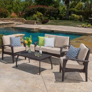 Honolulu Outdoor 4-piece Wicker Seating Set and Cushions by Christopher Knight Home