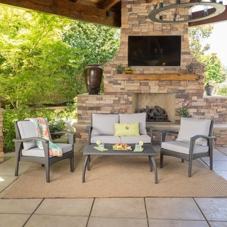 Link to Honolulu Outdoor 4-piece Cushioned Wicker Seating Set by Christopher Knight Home Similar Items in Outdoor Sofas