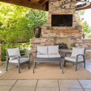 Honolulu Outdoor 4-piece Cushioned Wicker Seating Set by Christopher Knight Home