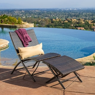 Christopher Knight Home Lionel Outdoor Wicker Lounge Chair with Ottoman Set and Pillow