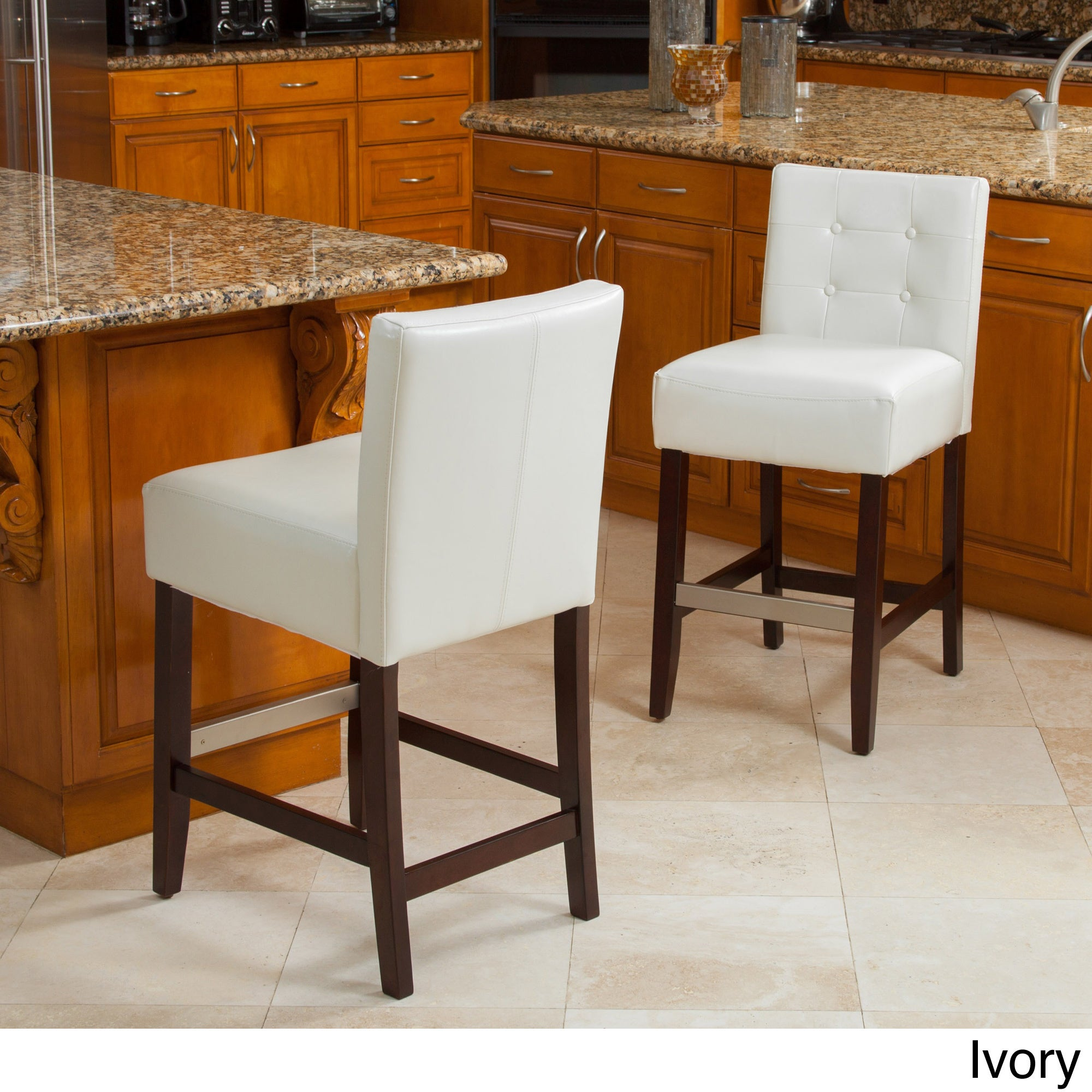 Tate 26 Inch Tufted Leather Counter Stools (Set Of 2) By Christopher Knight