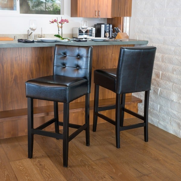 Tate 30-inch Tufted Leather Back Bar Stools (Set of 2) by Christopher & Tate 30-inch Tufted Leather Back Bar Stools (Set of 2) by ... islam-shia.org