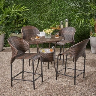 Multibrown Wicker Outdoor Bistro Bar Set with Ice Pail by Christopher Knight Home