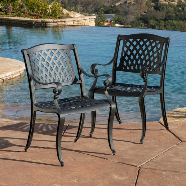 outdoor cayman cast aluminum black sand chair set of 2